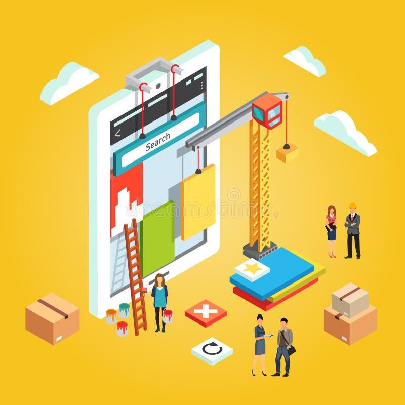 O App projeta a relação móvel de construção do ux do app da Web ilustração do vetor