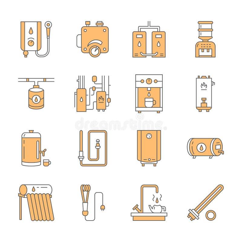 O aquecedor de água, a caldeira, o termostato, bondes, gás, calefatores solares e o outro equipamento de aquecimento da casa alin ilustração royalty free