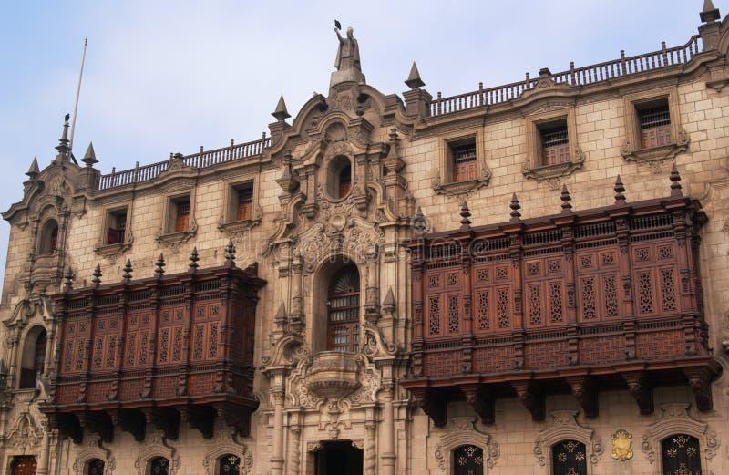 O arcebispo Palácio em Lima imagem de stock royalty free