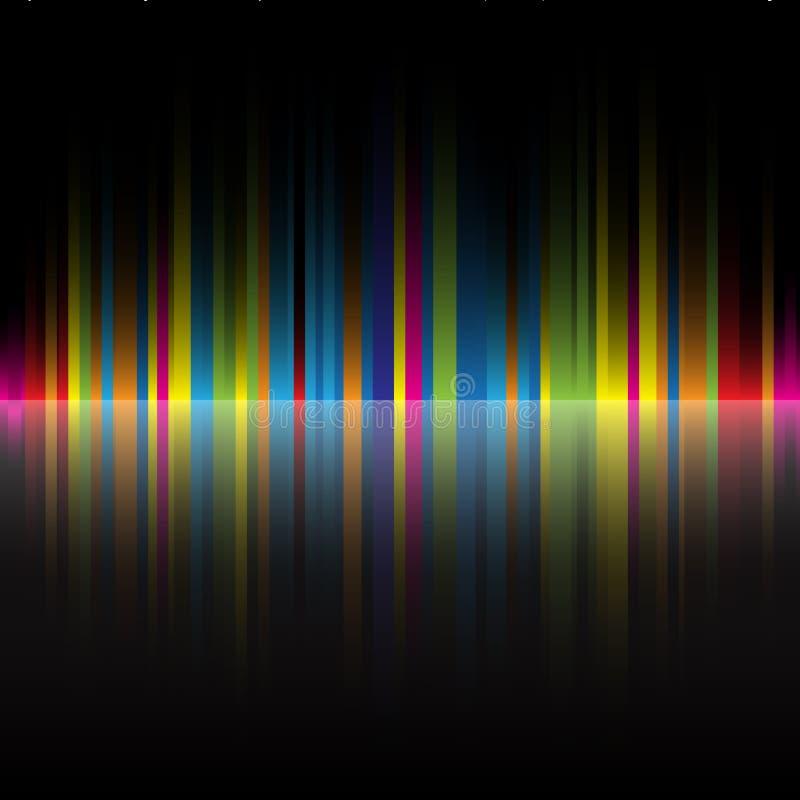 O arco-íris abstrato colore o fundo preto ilustração do vetor