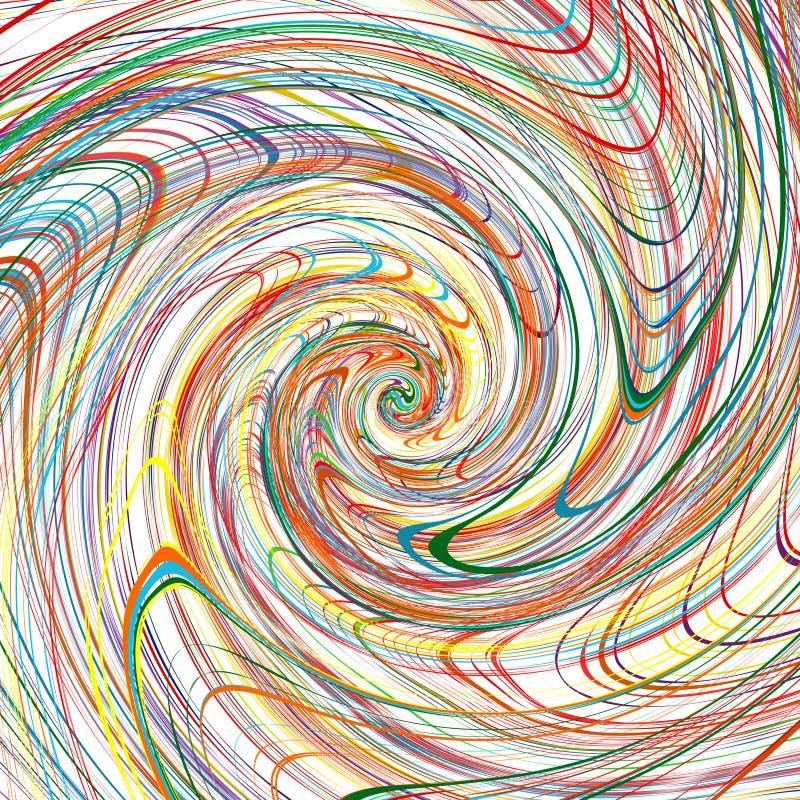O arco-íris abstrato curvou a linha de cor fundo das listras da espiral ilustração royalty free