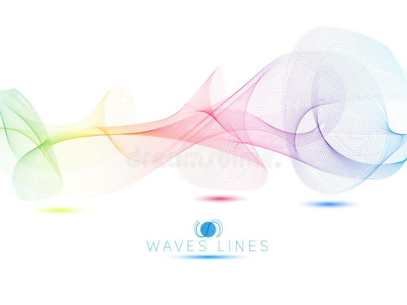 O arco-íris acena a linha colorida sumário brilhante das ondas claras ilustração stock