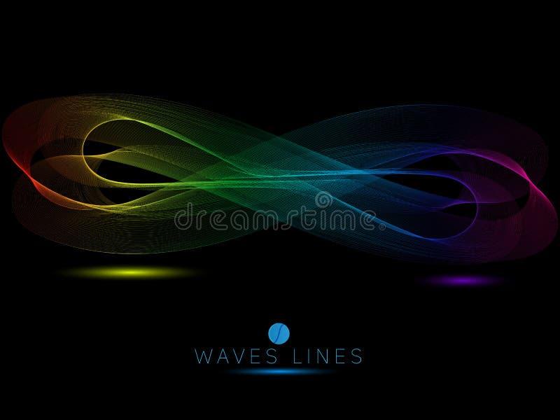 O arco-íris acena na linha clara colorida do fundo preto ilustração royalty free
