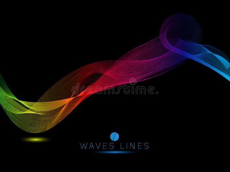 O arco-íris acena na linha clara colorida do fundo preto brilhante ilustração stock
