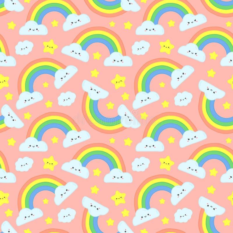 O arco-íris bonito nubla-se o teste padrão sem emenda Céu estrelado cor-de-rosa, arcos-íris engraçados e ilustração feliz  ilustração stock