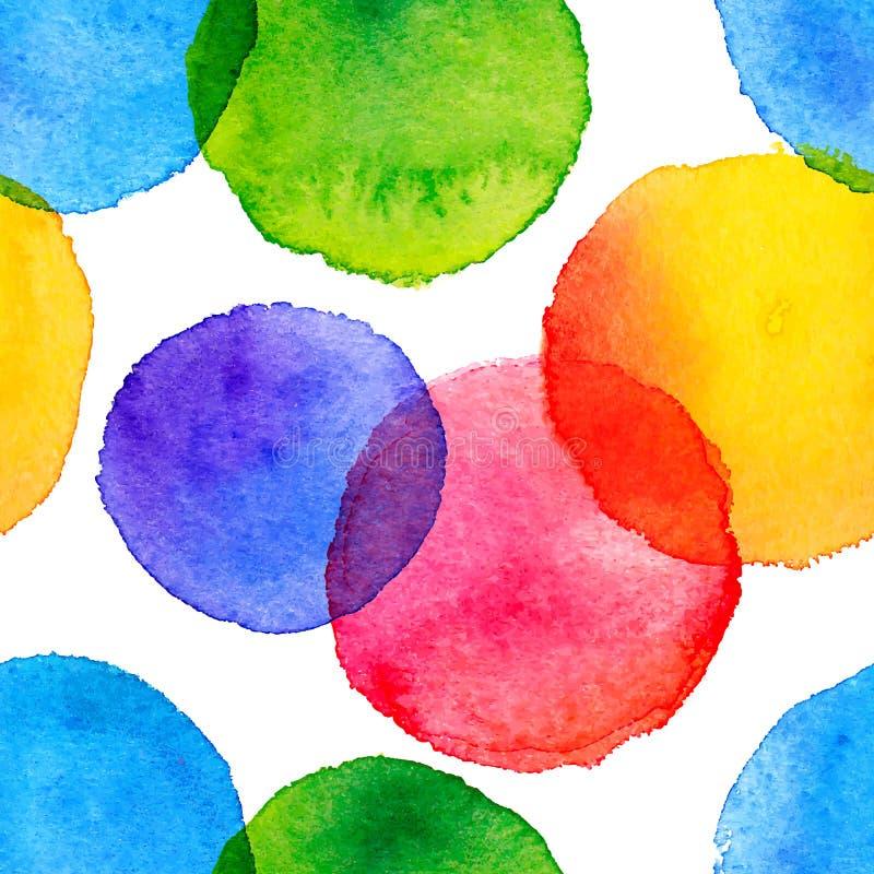 O arco-íris brilhante colore círculos pintados aquarela ilustração do vetor