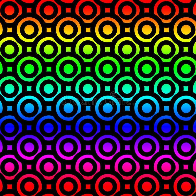 O arco-íris circunda o teste padrão sem emenda dos anéis de espuma ilustração stock
