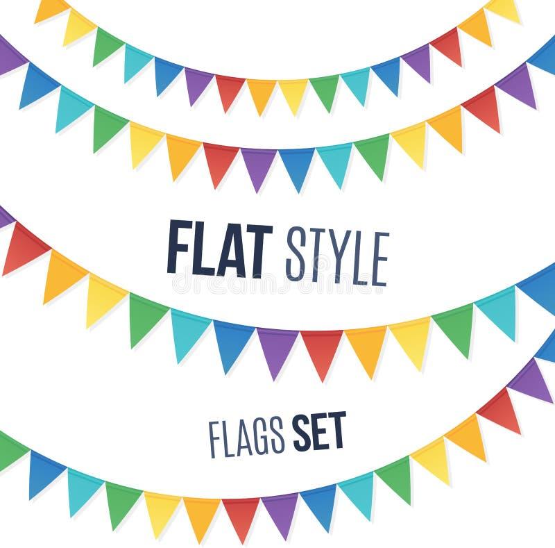 O arco-íris colore festões lisas das bandeiras do feriado do estilo ilustração royalty free