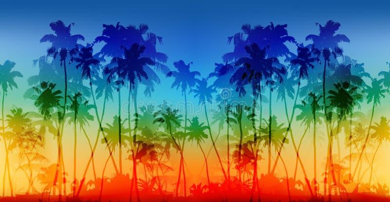 O arco-íris colore o fundo sem emenda do vintage do vetor das silhuetas das palmas ilustração stock