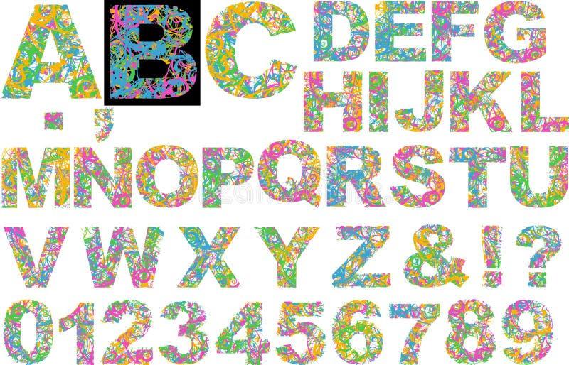 O arco-íris colore o alfabeto das curvas ilustração stock