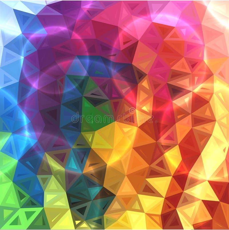O arco-íris colore o fundo abstrato dos triângulos ilustração stock
