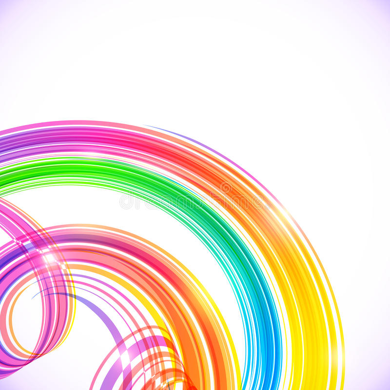 O arco-íris colore o fundo de brilho abstrato das espirais ilustração royalty free