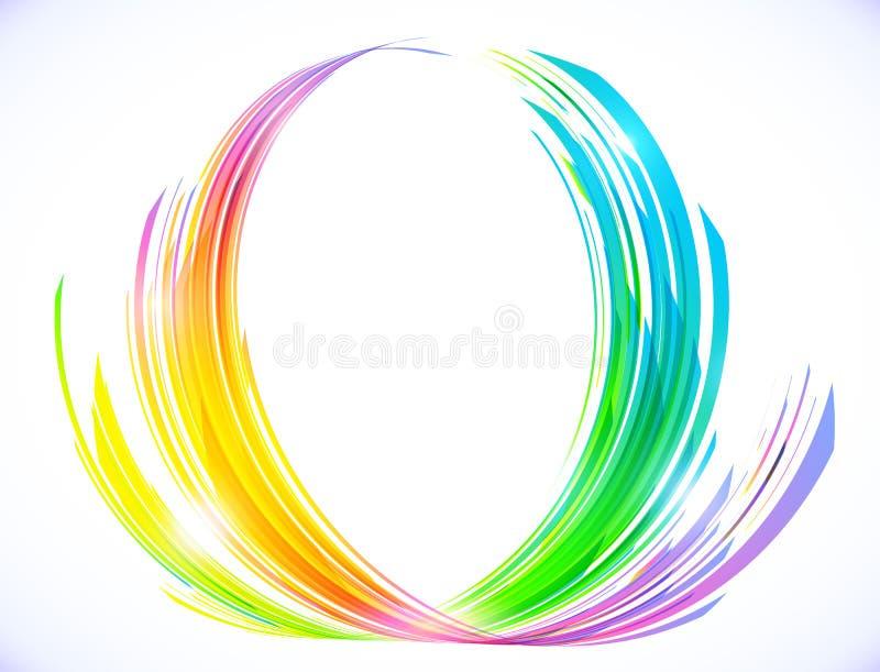 O arco-íris colore o símbolo abstrato da flor de lótus ilustração do vetor