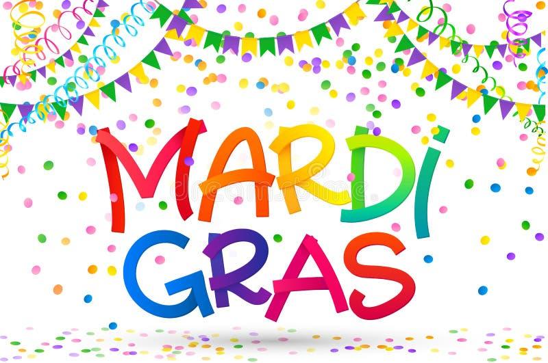 O arco-íris colore o sinal de Mardi Gras em confetes, em bandeiras do carnaval e na serpentina coloridos no fundo branco ilustração royalty free
