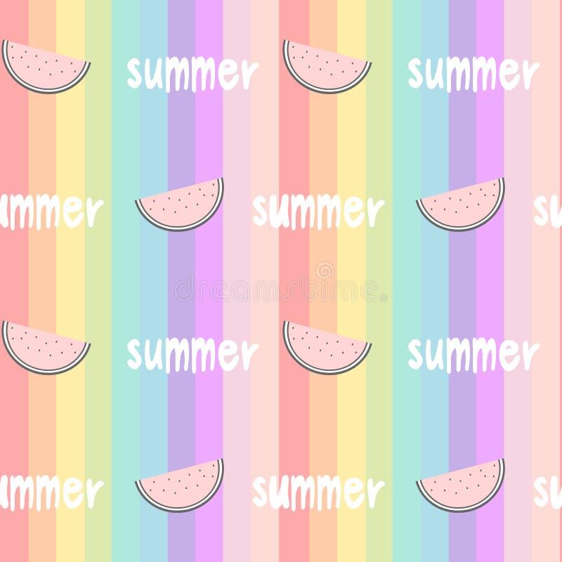 O arco-íris colorido listrou a ilustração sem emenda do fundo do teste padrão com melancias fatia e mão tiradas rotulando a palav ilustração royalty free