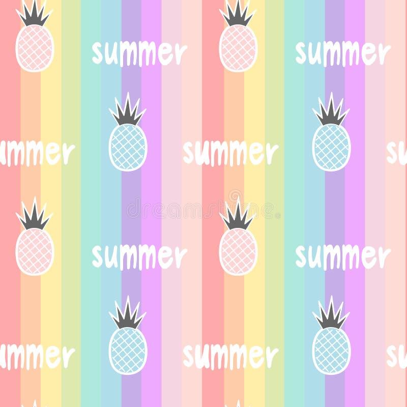 O arco-íris colorido listrou a ilustração sem emenda do fundo do teste padrão com os abacaxis e a mão tirados rotulando o verão d ilustração stock