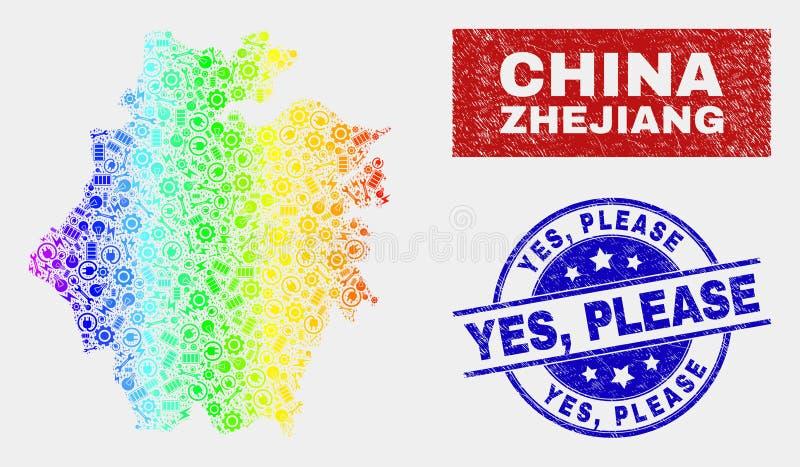 O arco-íris colorido monta o mapa da província de Zhejiang e aflige-o sim, carimba por favor selos ilustração royalty free