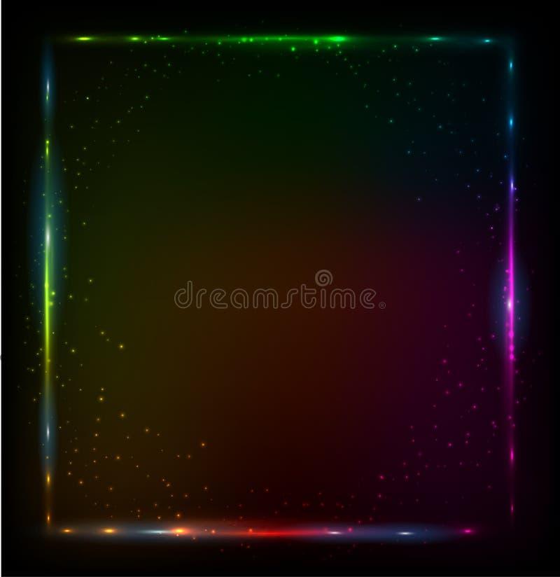 O arco-íris de brilho das luzes colore o quadro do vetor ilustração royalty free