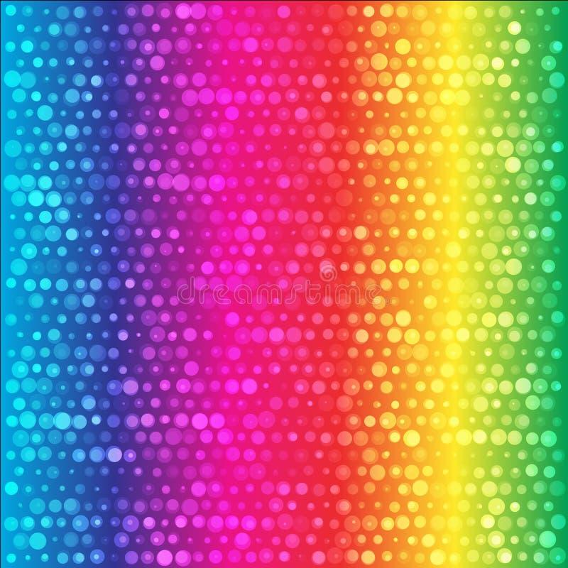 O arco-íris do espectro circunda o fundo colorido ilustração stock