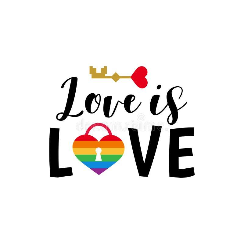 O arco-íris do sinal do orgulho colore o amor alegre do lgbt ilustração stock
