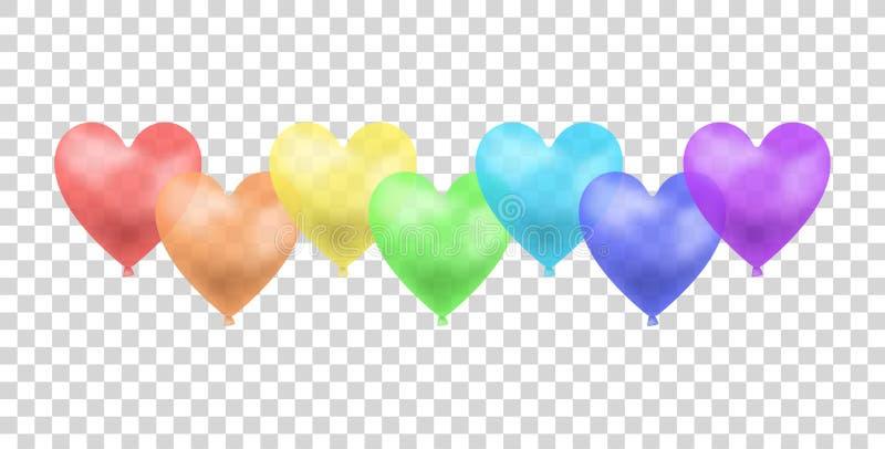 O arco-íris do vetor coloriu balões isolou-se, a ilustração do conceito da parada alegre, grupo de objetos ilustração royalty free