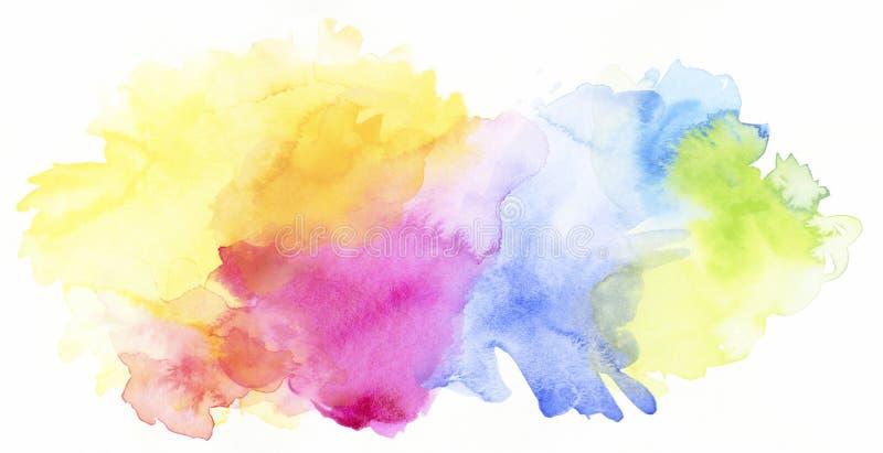 O arco-íris pastel coloriu pinturas e texturas da aquarela no branco ilustração stock