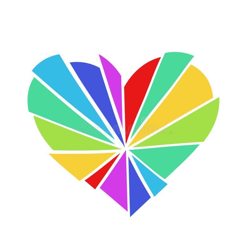 O arco-íris quebrado coloriu o logotipo do vetor do coração, isolado em um fundo branco imagens de stock royalty free