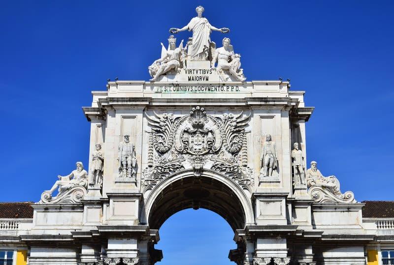 O arco de Augusta Rua em Lisboa, Portugal fotos de stock