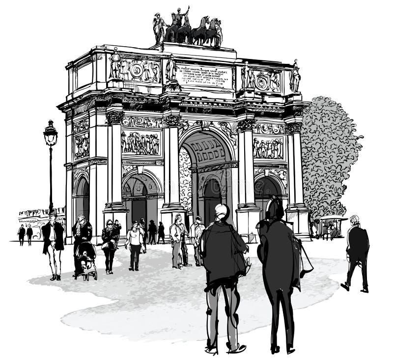 O arco do carrossel do triunfo e Tuileries jardinam em Paris ilustração royalty free
