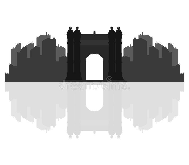 O arco triunfal em Barcelona ilustrou ilustração stock