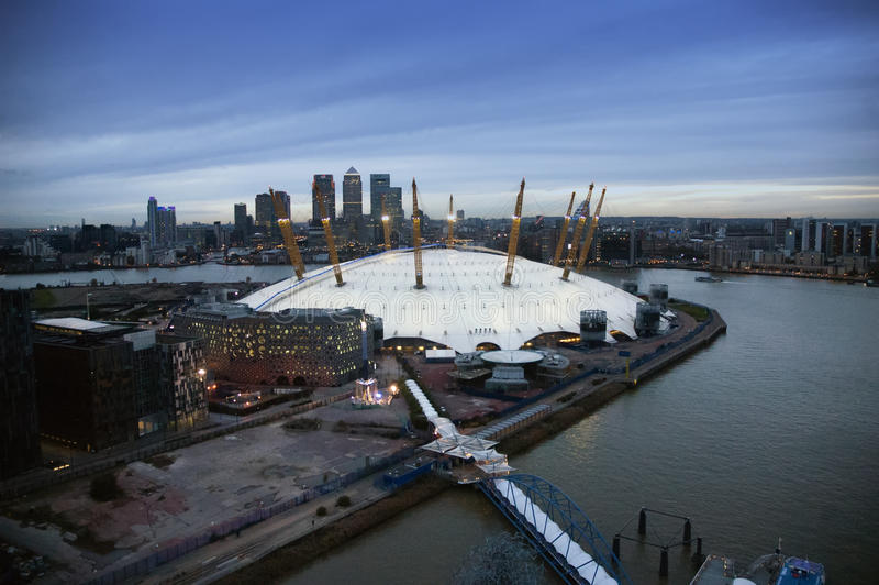 O2 arena, Millenniumkoepel, Londen stock foto's