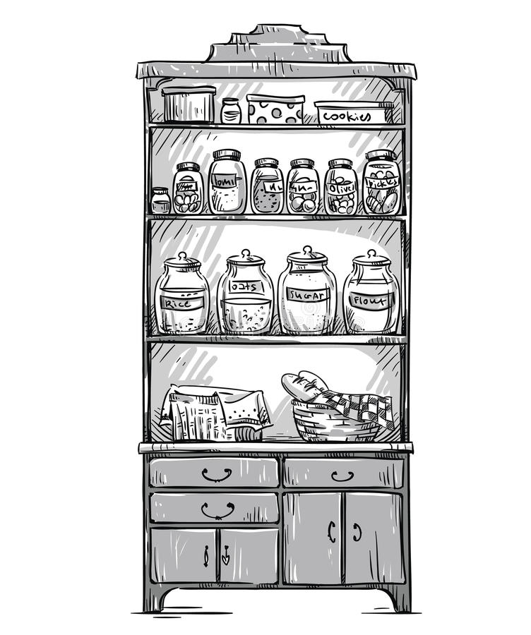 O armário da cozinha, cozinha arquiva, mão tirada ilustração royalty free