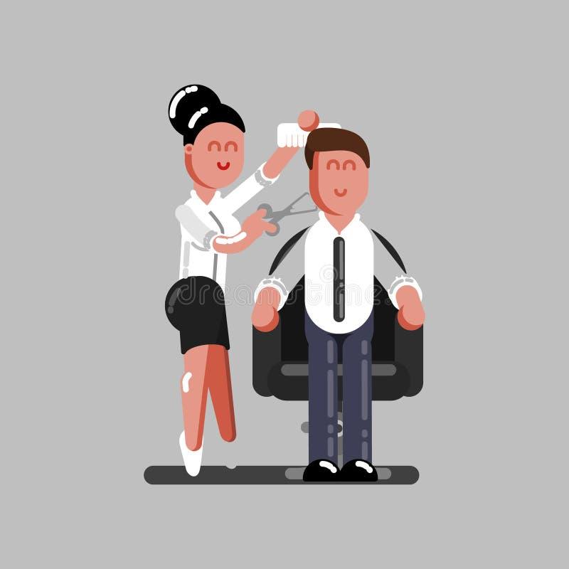 O armário do cabelo corta o cabelo dos clientes ilustração stock