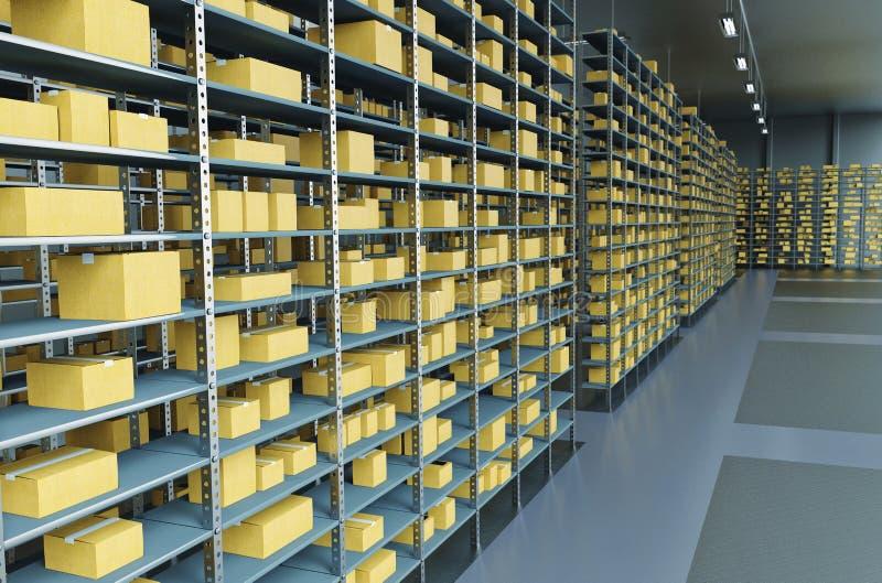 O armazenamento/armazém arquiva o fundo Conceito industrial ilustração stock