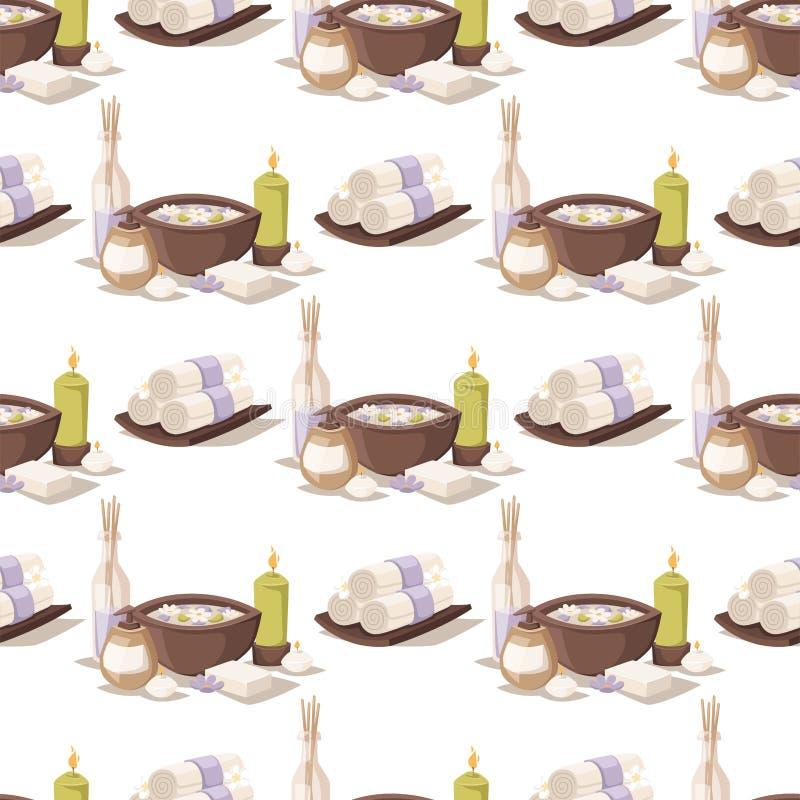 O aroma erval dos cosméticos da massagem do bem-estar dos procedimentos da beleza do tratamento dos termas apedreja o teste padrã ilustração royalty free