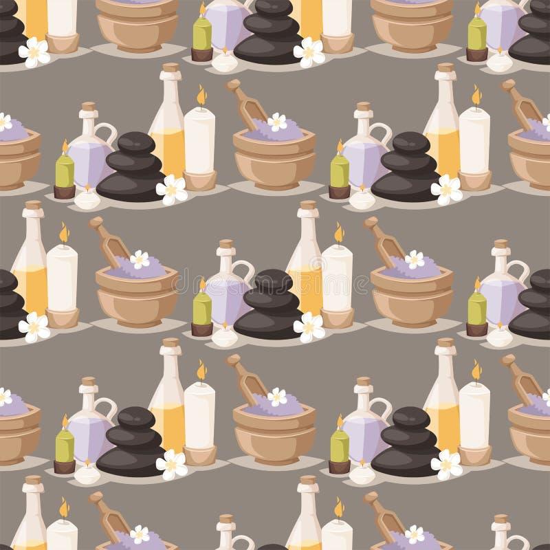 O aroma erval dos cosméticos da massagem do bem-estar dos procedimentos da beleza do tratamento dos termas apedreja o teste padrã ilustração do vetor
