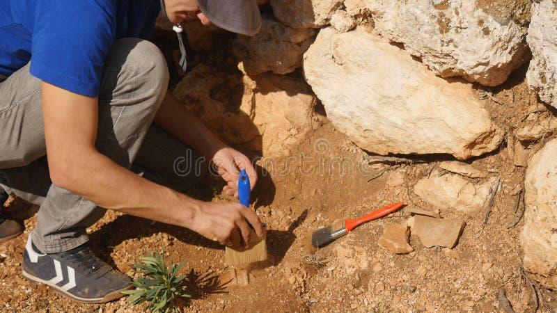 O arqueólogo novo trabalha em um local arqueológico imagens de stock