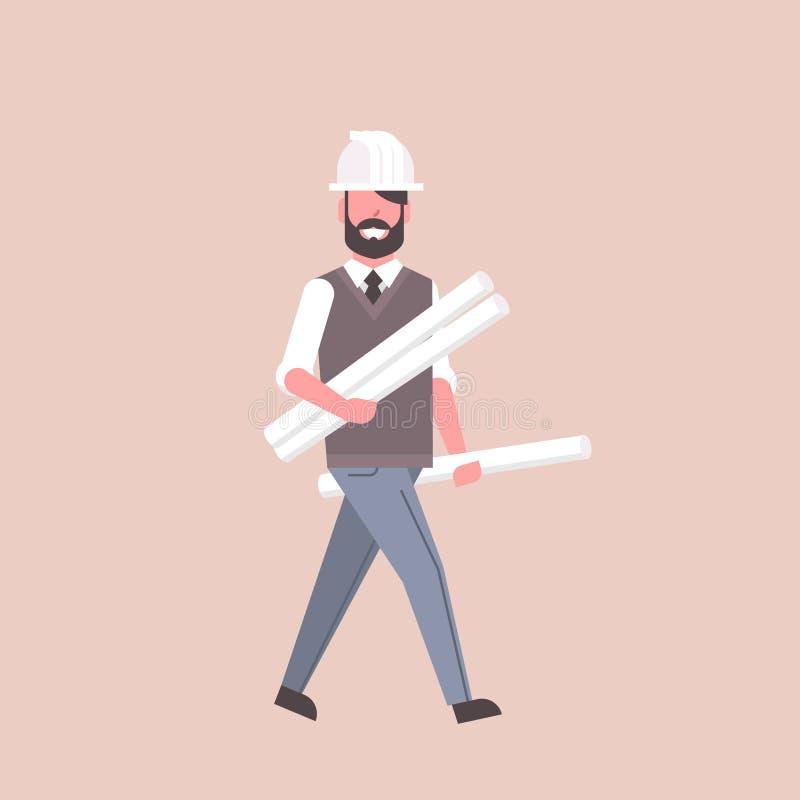 O arquiteto do homem na terra arrendada do capacete rolou acima do conceito feliz da indústria da construção civil do projeto da  ilustração do vetor