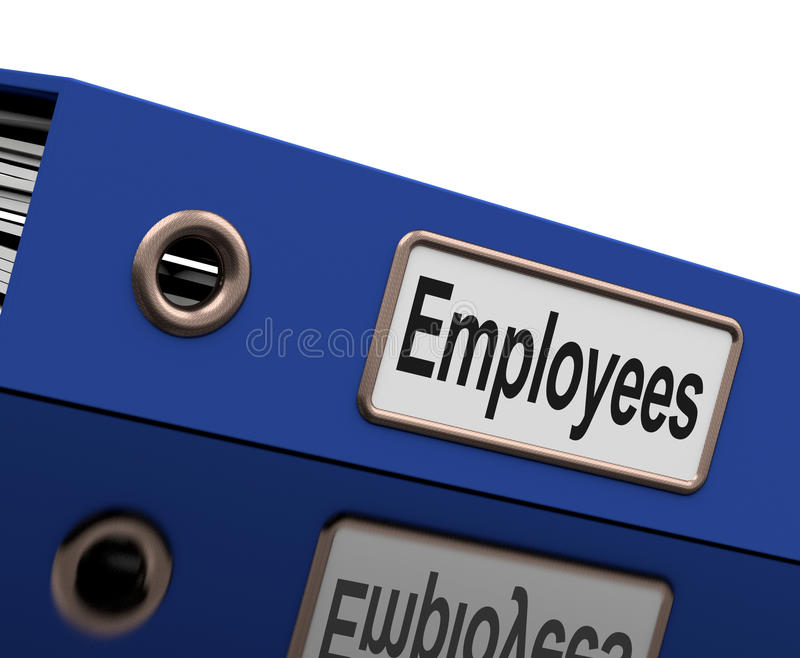 O arquivo dos empregados contem registros de emprego ilustração stock