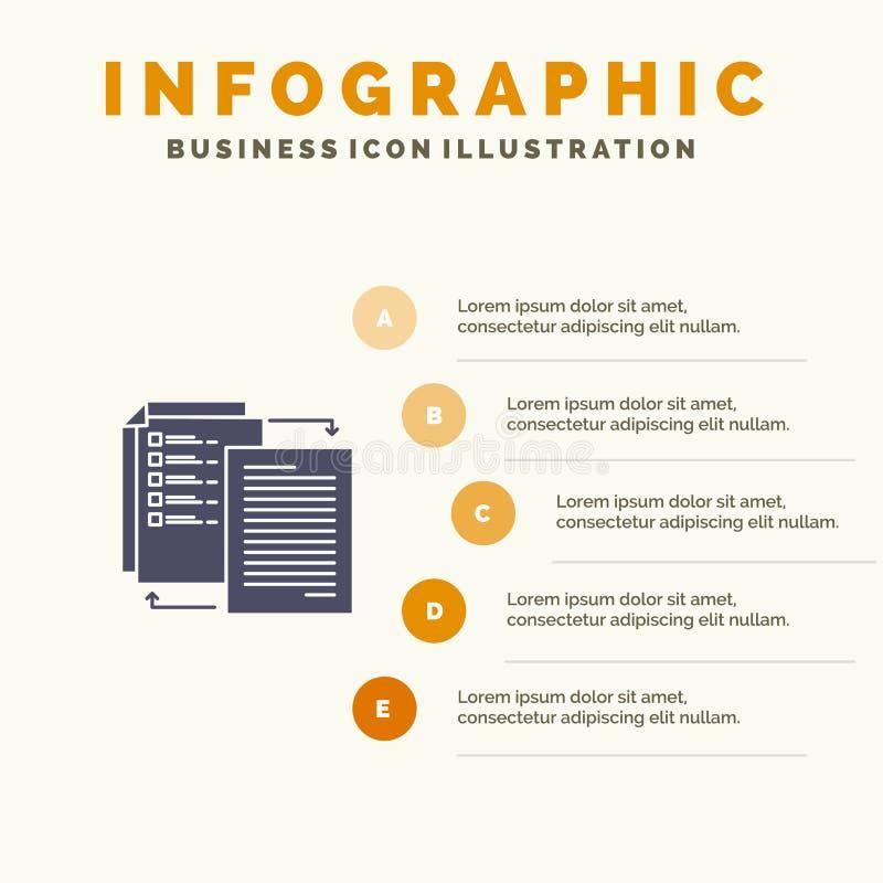 O arquivo, parte, transferência, Wlan, compartilha d fundo contínuo da apresentação das etapas de Infographics 5 do ícone ilustração royalty free