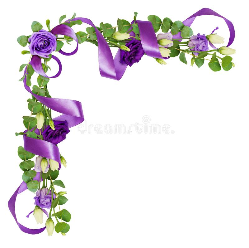 O arranjo de canto com eustoma floresce, as folhas do verde do eucalipto imagem de stock royalty free