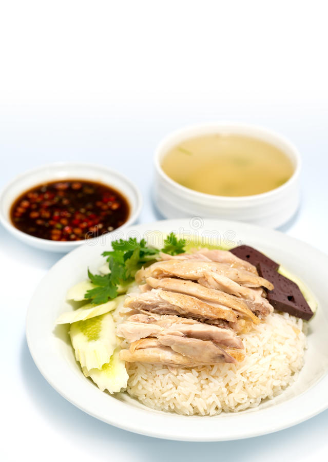 O arroz da galinha de Hainanese, gourmet tailandês cozinhou a galinha com arroz, kai do mun do khao dentro imagens de stock