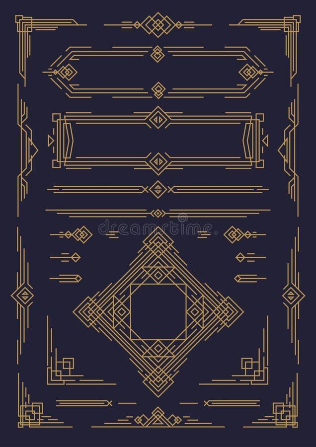 O art deco e a linha árabe projetam a cor do ouro dos elementos isolados no fundo preto ilustração royalty free