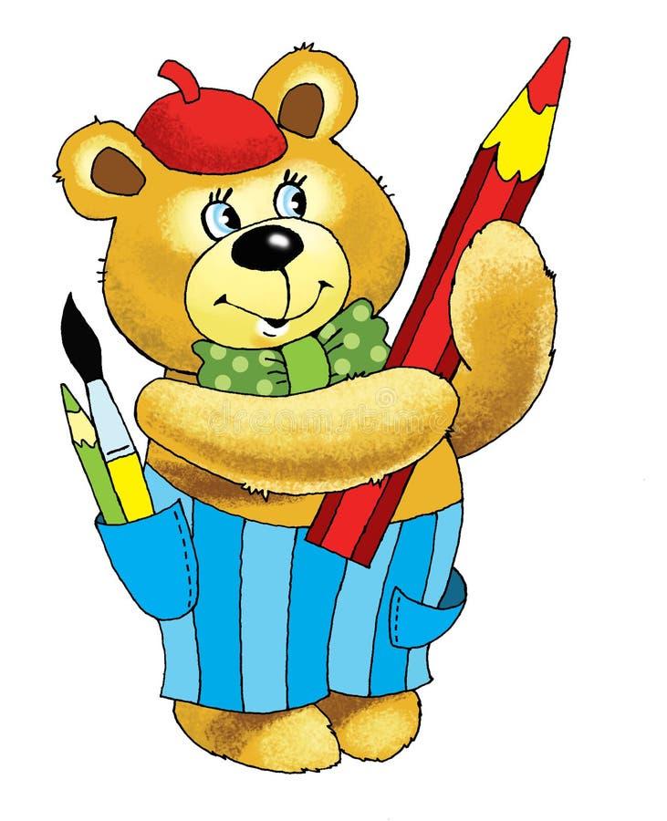 O artista do urso toma uns desenhos animados do lápis da curva ilustração royalty free