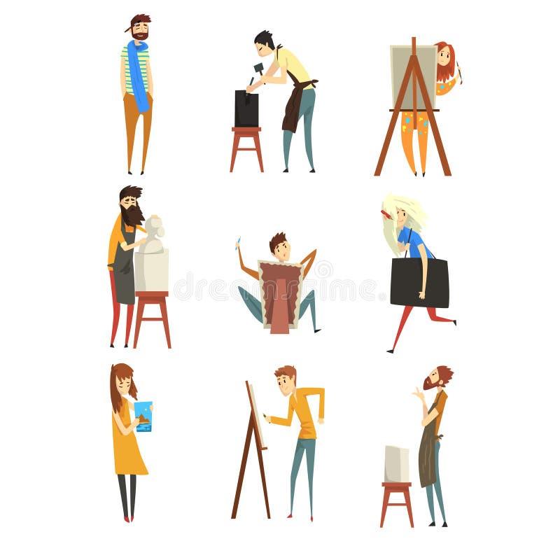 O artista e os escultores ajustam-se, pintores talentosos ou os caráteres dos escultores, povos de profissões criativas vector a  ilustração do vetor