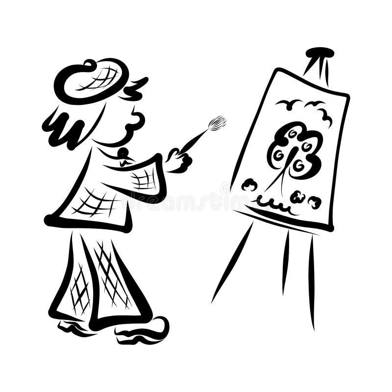 O artista engraçado tira a natureza, a escova e a armação ilustração royalty free