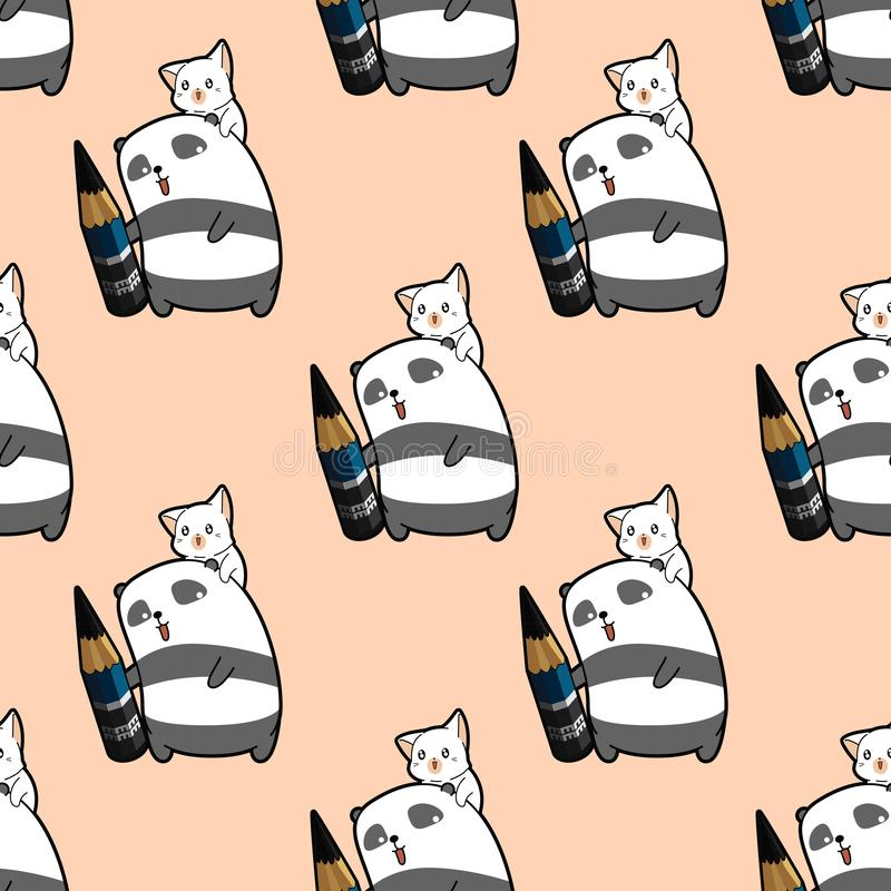 O artista sem emenda da panda está guardando o lápis com teste padrão do caráter do gato ilustração royalty free