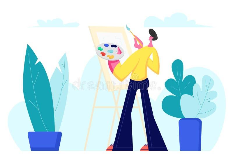 O artista talentoso Male Character com paleta das pinturas e a escova nas mãos estão na frente do ar livre da pintura da lona da  ilustração stock
