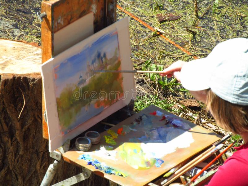 o artista tira o templo imagens de stock royalty free