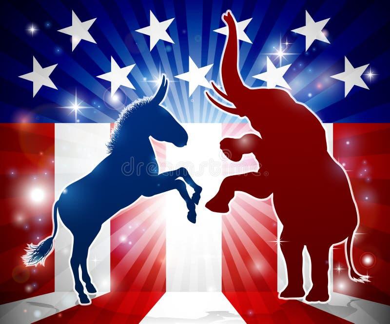 O asno e o elefante enfrentam fora ilustração do vetor